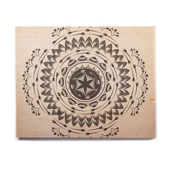 "Famenxt ""Boho Tribe Mandala"" Beige Black Birchwood Wall Art"