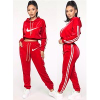 NIKE Popular Women Casual Print Hooded Top Pants Trousers Set Two-Piece Sportswear Red