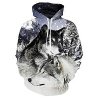 New Two Wolf Hoodie Men/Women 3D Print Hoodies Hat Tops Harajuku Hooded Pullover Casual Sweatshirts Hoody Dropship