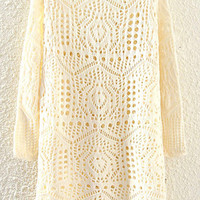Beige Cut-out Long Sleeve Knitted Dress