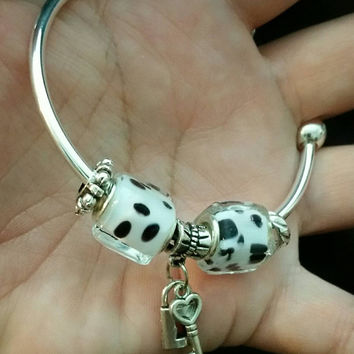 Spotted cow charm bracelet
