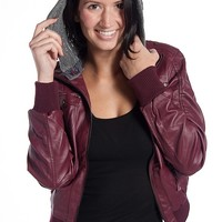 Miss Posh Hooded Faux Leather Moto Jacket - Wine