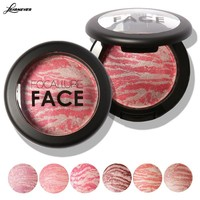 LEARNEVER Cosmetic Mineral Blusher Powder Professional Cheek 6 Colors Makeup Baked Blush Blusher Balm With Brush M02728