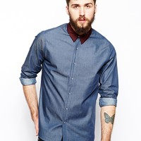 ASOS Denim Shirt In Long Sleeve With Contrast Collar