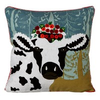 Pillow: Embroidered Cow with Flower Crown Pillow