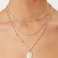 Gold Triple Layer Delicate Chain Pendant Necklace