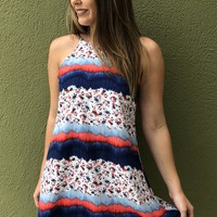 Summer Wonders Dress - Orange/Blue