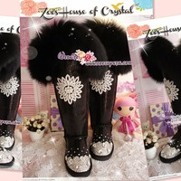 PROMOTION WINTER Queen Style Black Metallic Bling and Sparkly Knee High Fur UGG Inspired SheepSkin Wool BOOTS - ZoeCrystal