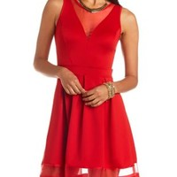 Organza Cut-Out Skater Dress by Charlotte Russe - Red