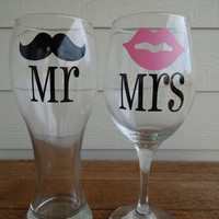 Mr & Mrs Moustache and Lips Pilsner and Wine Glass - Wedding Gift - Shower Gift - Housewarming
