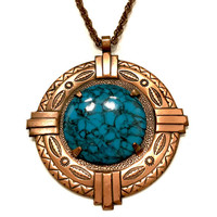 """Bell Copper Pendant Necklace, Huge Copper and Faux Turquoise Medallion, Traditional Native Style Stamping, Copper Chain 30"""", Gift for Her"""