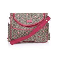 ONETOW Gucci Rose Bud Zip Pink Print GG Canvas Diaper Bag Beige Girl Baby Italy New