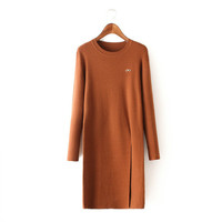 Stylish Round-neck Long Sleeve Glasses Split Knit Women's Fashion Tops [4919019012]