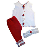 Baby Girl's Red Rose Clothing Set