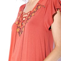 Embroidered Lace Up V-neck Tee Tops GS-LOVE
