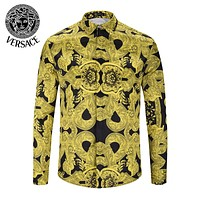 VERSACE Fashionable Men Women Classic Print Long Sleeve Lapel Shirt Top