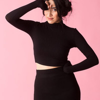 Cool Cat Cropped Turtleneck in Black - Hello Holiday