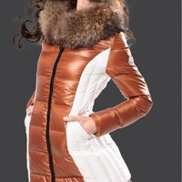 Moncler Imin Long brown white Quilted Puffer Coat