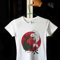Iyan Iyang Ian Iang Dragon Fish Japanese Asian China Traditional Exotic Gold Kanji White Fitted 100% Cotton T shirt T-shirt Tee