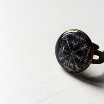 Vegvísir Sigil Compass Ring - Icelandic Magical Stave - Viking Jewelry - Norse Jewelry - Viking Ring -Handmade Vintage Cameo Adjustable Ring