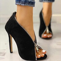 Fashion new women comfortable wild suede stiletto sandals shoes