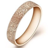 Gold Mesh Druzy Style His and Her Forever Love Cubic Zirconia CZ Diamond Titanium Ring Anniversary Band