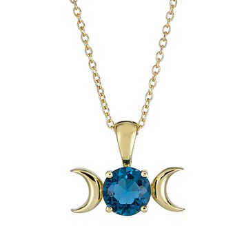 Test Triple Moon Goddess Necklace-Solid 14k Gold with London Blue Topaz