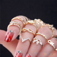 Womens Knuckle Finger Tip Stacking Rhinestone Bowknot Ring Set 7pcs