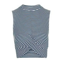 Striped Twist Front Crop