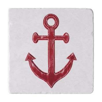 Rustic Anchor Marble Trivet or Travertine Trivet in red