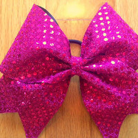pink sequin cheer bow by TonTonsBowtique on Etsy