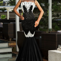 Black Sleeveless Sequined  Lace Patchwork Mermaid Dress