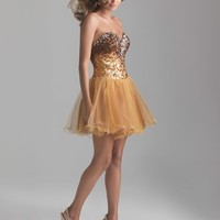 SALE! Night Moves by Allure 2013 Homecoming Dresses - Gold Sequin & Tulle Strapless Drop Waist Homecoming Dress