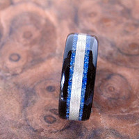 Ebony wooden ring with Lapis Lazuli and Harewood inlays Bentwood ring