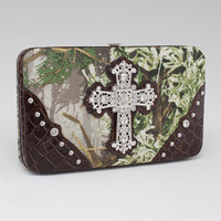 Realtree ?? Camouflage Extra Deep Frame Wallet Purse w/ Rhinestone Cross - Coffee Color: Camouflage/ Coffee