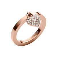 Rose Golden Pave Puffy Heart Charm Ring - Michael Kors - Rose gold