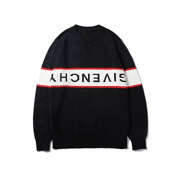Givenchy fashion sells casual monogram-knit sweaters for couples Black