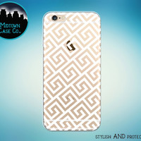 Greek Pattern Geometric Pattern in White on Clear Rubber See-Through Transparent Case for iPhone 6S, iPhone 6S Plus, iPhone 6, iPhone 6 Plus