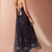 UO Darkest Hour Embroidered Sequin Midi Dress | Urban Outfitters