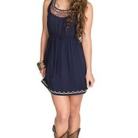 Panhandle Women's Navy with Beaded Tribal Embroidery Sleeveless Racer Back Dress