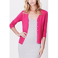 V-Neck Fine Knit Cardigan