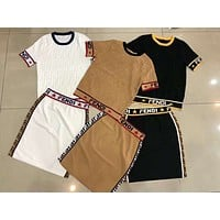 Fendi 2019 early spring new letter stitching round neck short sleeve jacquard knitted short-sleeved T-shirt + short skirt two-piece