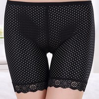 Casual Black Hollow Out Thin Short Legging Underpant