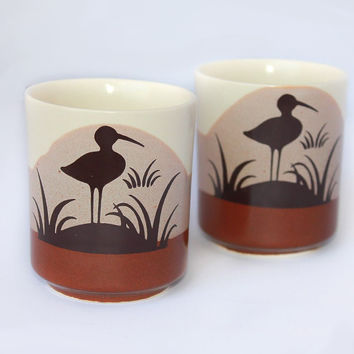 70's Seagull Juice Glasses x 2 - Vintage