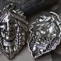 Antique Silver Indian Chief Pendants With Headdress Native American Charms 37x59mm Set of 4 A7928