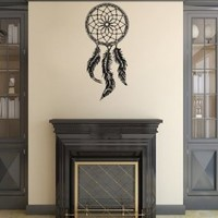 Housewares Wall Vinyl Decal Indian Dream Catcher Feathers Bedroom Home Art Decor Kids Nursery Removable Stylish Sticker Mural Unique Design for Any Room