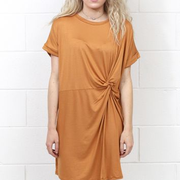 Knot Your T-Shirt Dress {Gold} - Size SMALL