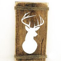 Shop Early Sale - Deer Wall Mount Rustic Wood Sign - Indie home decor, gifts for her, country cabin decor, hunting sign, reclaimed pallet, A
