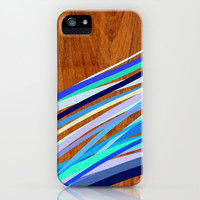 Wooden Waves Blue iPhone & iPod Case by House of Jennifer