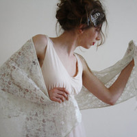 Ivory bridal wrap Ivory bridal shawl Ivory wedding shawl Gold embroidery evening shawl Lace wedding wrap Jane Austen scarf DARCY